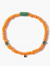 MUSA BY BOBBIE Diamond, emerald & 18kt gold beaded bracelet / orange and green bead bracelets