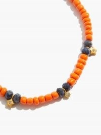 MUSA BY BOBBIE Diamond, sapphire & 14kt gold charm necklace / orange beaded necklaces with small charms attached