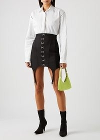 DION LEE Garter black panelled mini skirt ~ corset style kirts