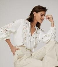 REISS DOTTIE LACE DETAIL BLOUSE WHITE ~ feminine cut out blouses