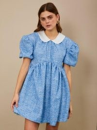 sister jane Bubblegum Tweed Mini Dress ~ blue puff sleeve peter pan collar dresses ~ fashion with volume