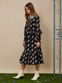 sister jane Carousel Midi Dress / horse prints / horses / animal frill trim dresses