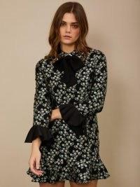 sister jane Somersault Jacquard Mini Dress Black and Green / floral ruffle sleeve dresses / romantic style fashion