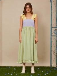 sister jane Fun and Frolics Midi Dress ~ ruffle trim dresses ~ colour block fashion