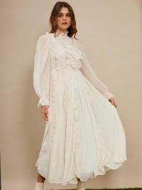 sister jane Twister Ruffle Maxi Dress / dobby spot high neck dresses / romantic fashion
