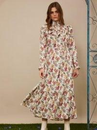 sister jane Fond Memories Belted Midi Dress / romantic floral dresses / high neck prairie look dresses