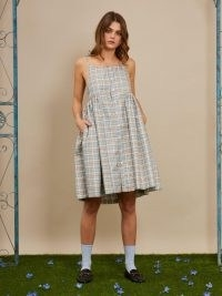 sister jane Merry-go-round Mini Dress / checked skinny strap dresses / embellished fashion