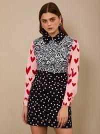 sister jane Pick and Mix Mini Dress / spot and heart prints / mixed print dresses / zebra / hearts / polka dots