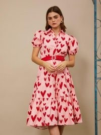 sister jane Wheel Midi Dress cotton cany and scarlet ~ pink heart print dresses