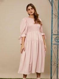sister jane Like Old Times Midi Dress rose quartz ~ pink floaty puff sleeve dresses