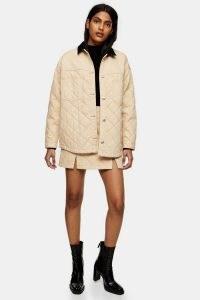 TOPSHOP Ecru Quilted Denim Jacket ~ quilt pattern jackets