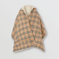 BURBERRY Fleece-lined Vintage Check Cotton Hooded Cape ~ checked capes