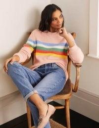 BODEN Effingham Fluffy Jumper Milkshake Marl / light pink striped crew neck jumpers / knitwear