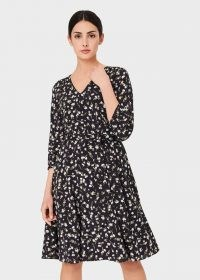 HOBBS ELENA SILK BLEND FLORAL V NECK DRESS ~ tie waist flippy hem dresses