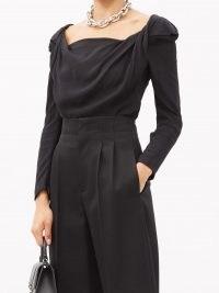 VIVIENNE WESTWOOD Elizabeth cowl-neck crepe-de-Chine top ~ black twist detail tops