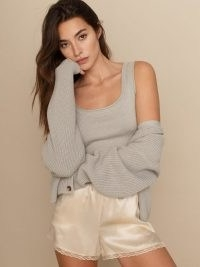 Reformation Elke Cotton Tank And Cardigan Set – knitted loungewear co-ords – cardigans and tops