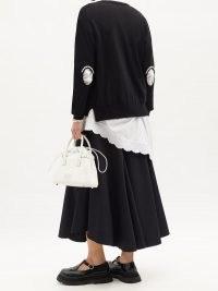 SIMONE ROCHA Embellished cutout wool-blend cardigan | embellished cut out elbow cardigans