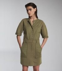 REISS EMLYN PANEL DETAIL SWEATSHIRT DRESS KHAKI ~ green utility style dresses ~ casual clothing