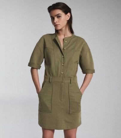 REISS EMLYN PANEL DETAIL SWEATSHIRT DRESS KHAKI ~ green utility style dresses ~ casual clothing