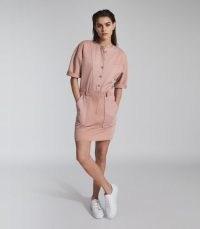 REISS EMLYN PANEL DETAIL SWEATSHIRT DRESS PINK / casual weekend dresses
