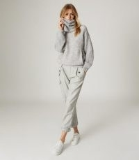 REISS EMMA CHUNKY ROLL NECK JUMPER GREY MARL