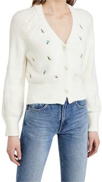 ENGLISH FACTORY Embroidered Knit Cardigan / white floral V-neck cardigans