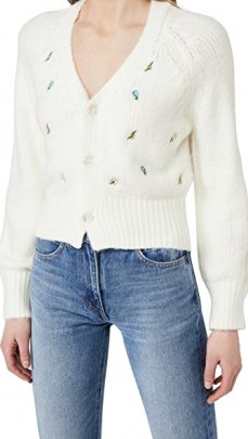 ENGLISH FACTORY Embroidered Knit Cardigan / white floral V-neck cardigans - flipped