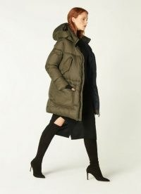L.K. BENNETT ERIN KHAKI PADDED COAT / chunky dark green hooded coats