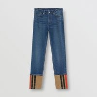 BURBERRY Straight Fit Striped Cuff Washed Jeans ~ denim redux ~ cuffed hems