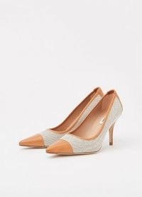 L.K. BENNETT FELIPA CANVAS AND TAN LEATHER COURTS / neutral pointed toe court shoes