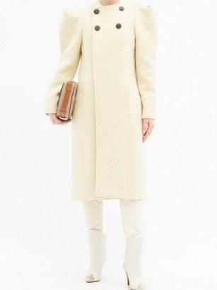 ISABEL MARANT Fezio gathered-shoulder wool-blend coat ~ structured shoulder coats - flipped