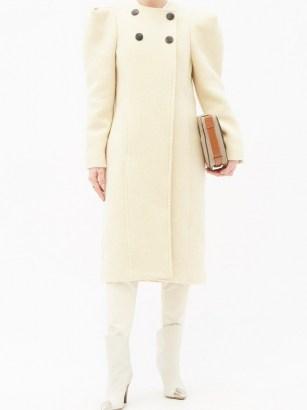 ISABEL MARANT Fezio gathered-shoulder wool-blend coat ~ structured shoulder coats