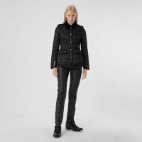 Burberry Cotton Gabardine Panel Diamond Quilted Jacket ~ belted quilt detail jackets