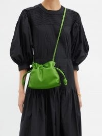 LOEWE Flamenco green mini drawstring leather cross-body bag