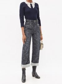 CHLOÉ Floral-print cropped wide-leg jeans ~ washed grey printed denim