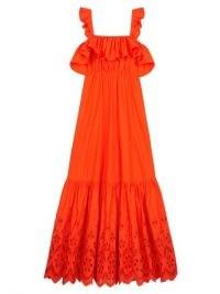 SELF-PORTRAIT Flounced broderie-anglaise poplin trapeze dress in orange