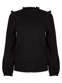 OLIVER BONAS Frill Detail Black Knitted Jumper | ruffle trim jumpers