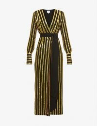 GALVAN Pride sequin-embellished stripe pattern woven midi wrap dress – glitzy sequinned occasion dresses