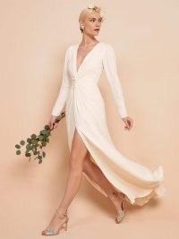 REFORMATION Gatsby Dress ~ floor length deep v-neck wedding dress ~ high slit bridal gowns