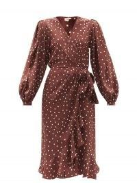 JOHANNA ORTIZ Geography of Life polka-dot silk wrap dress ~ brown spot print dresses