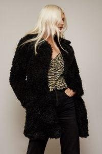 GIRLS ON FILM CORMAC BLACK TEDDY COAT ~ textured coats