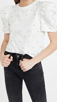 Giuseppe di Morabito Puff Sleeve Crystal Embellished Shirt White Milk