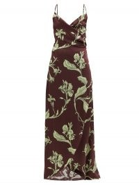 JOHANNA ORTIZ Given Promise floral-print silk slip dress ~ brown cami strap dresses