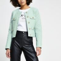 RIVER ISLAND Green faux leather diamond quilted jacket