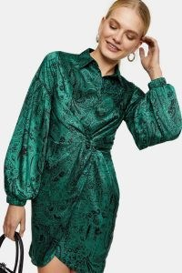 TOPSHOP Green Premium Wrap Shirt Dress / paisley print dresses