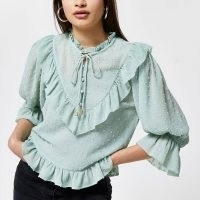 RIVER ISLAND Green puff sleeve frill blouse top / textured dobby spot blouses