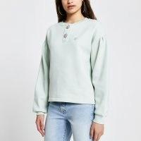 RIVER ISLAND Green 'RVR' diamante button sweatshirt ~ drop shoulder sweat top