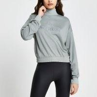 RIVER ISLAND Green RVR 'New York City' crop sweatshirt ~ high neck slogan sweat tops