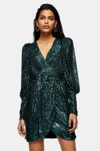 TOPSHOP Green Sequin Wrap Mini Dress / glamorous occasion dresses / evening glamour