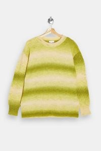 TOPSHOP Green Tie Dye Print Knitted Jumper ~ drop shoulder crew neck jumpers